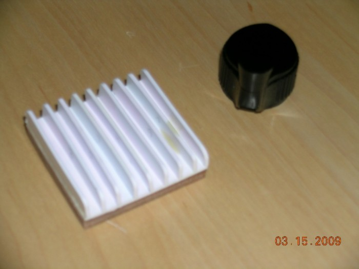 Actual crank knob and manufactured heat sink. The heat sink is polystyrene attached to an MDF base